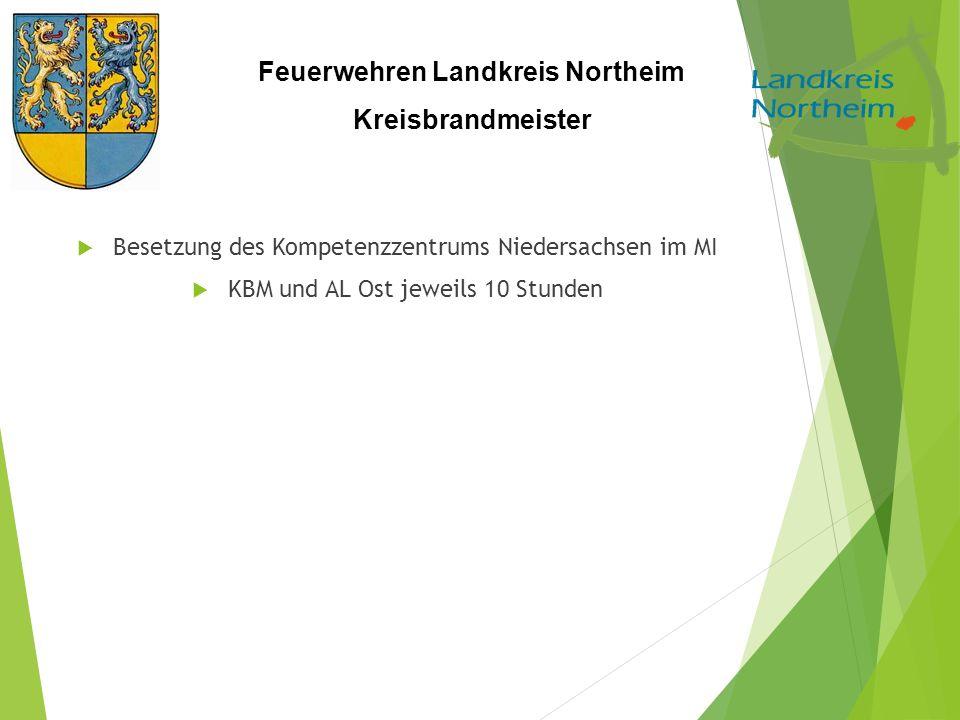 Feuerwehren Landkreis Northeim Kreisbrandmeister  Besetzung des Kompetenzzentrums Niedersachsen im MI  KBM und AL Ost jeweils 10 Stunden