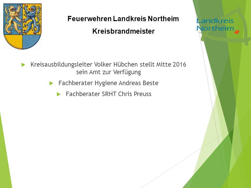 Feuerwehren Landkreis Northeim Kreisbrandmeister  Kreisausbildungsleiter Volker Hübchen stellt Mitte 2016 sein Amt zur Verfügung  Fachberater Hygien