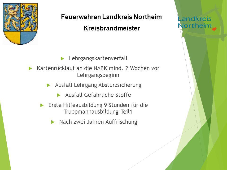 Feuerwehren Landkreis Northeim Kreisbrandmeister  Lehrgangskartenverfall  Kartenrücklauf an die NABK mind. 2 Wochen vor Lehrgangsbeginn  Ausfall Le