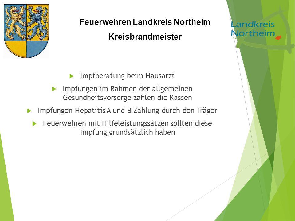 Feuerwehren Landkreis Northeim Kreisbrandmeister  Impfberatung beim Hausarzt  Impfungen im Rahmen der allgemeinen Gesundheitsvorsorge zahlen die Kas