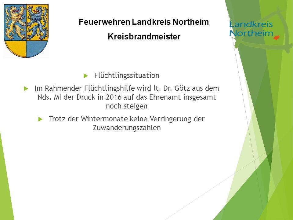 Feuerwehren Landkreis Northeim Kreisbrandmeister  Flüchtlingssituation  Im Rahmender Flüchtlingshilfe wird lt. Dr. Götz aus dem Nds. MI der Druck in
