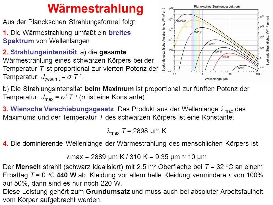 Wärmestrahlung Der Mensch strahlt (schwarz idealisiert) mit 2.5 m 2 Oberfläche bei T = 32 o C an einem Frosttag T = 0 o C 440 W ab. Kleidung vor allem