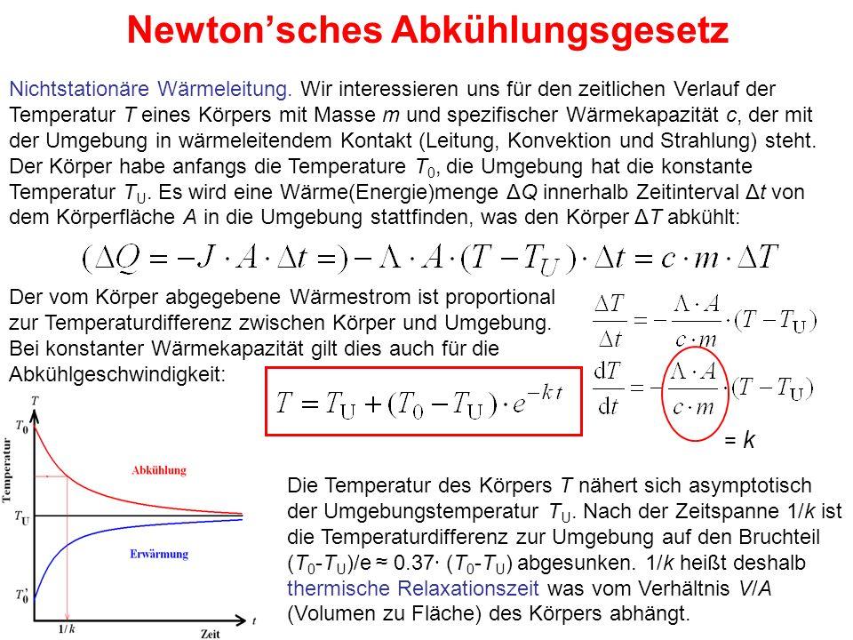 Newton'sches Abkühlungsgesetz Nichtstationäre Wärmeleitung. Wir interessieren uns für den zeitlichen Verlauf der Temperatur T eines Körpers mit Masse