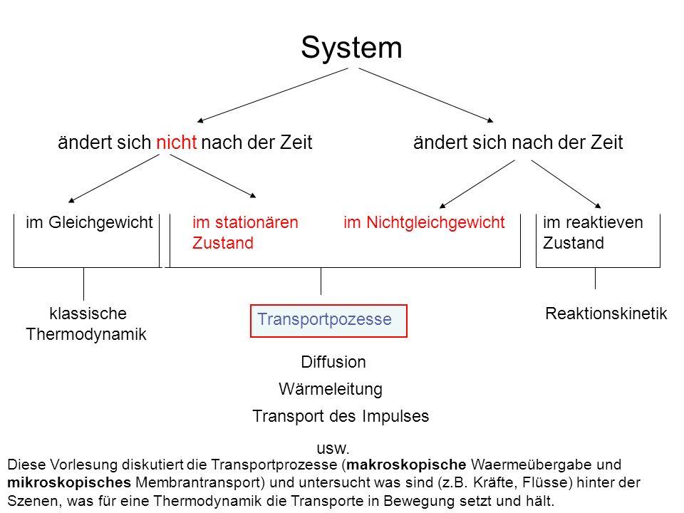 System ändert sich nicht nach der Zeitändert sich nach der Zeit im Gleichgewichtim stationären Zustand im Nichtgleichgewichtim reaktieven Zustand Reaktionskinetik Transportpozesse Diffusion Wärmeleitung Transport des Impulses klassische Thermodynamik usw.