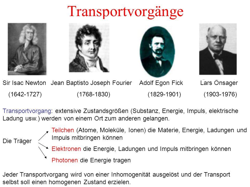 Transportvorgänge Transportvorgang: extensive Zustandsgrößen (Substanz, Energie, Impuls, elektrische Ladung usw.) werden von einem Ort zum anderen gel