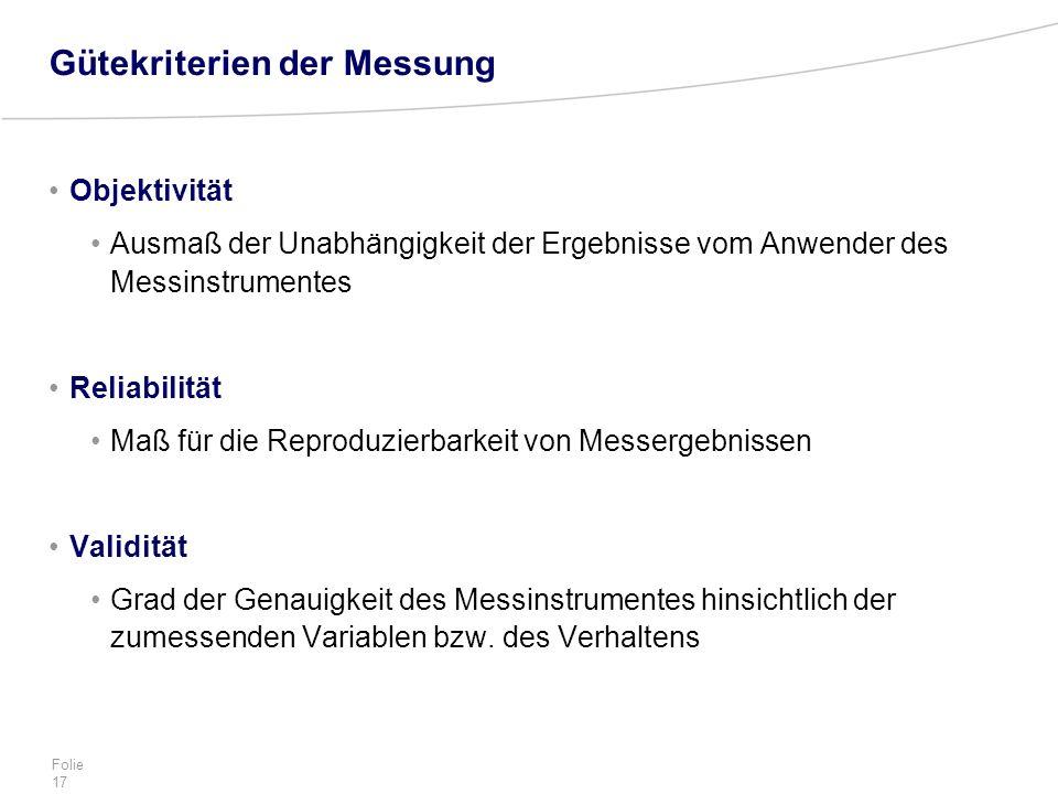 Folie 17 Gütekriterien der Messung Objektivität Ausmaß der Unabhängigkeit der Ergebnisse vom Anwender des Messinstrumentes Reliabilität Maß für die Re