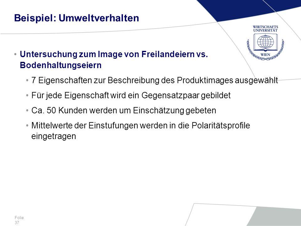 Folie 37 Beispiel: Umweltverhalten Untersuchung zum Image von Freilandeiern vs. Bodenhaltungseiern 7 Eigenschaften zur Beschreibung des Produktimages
