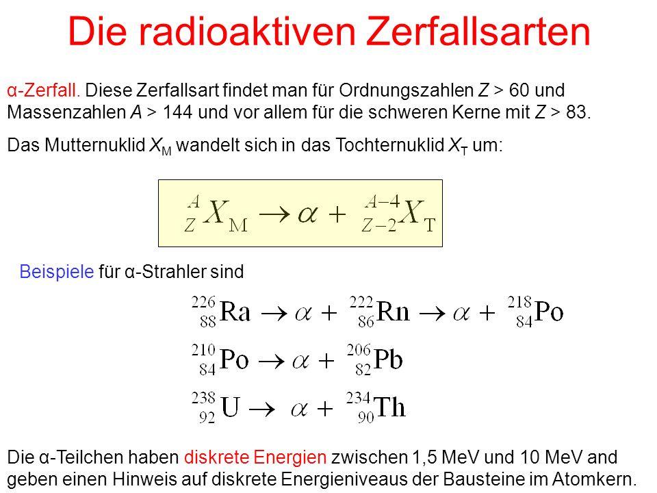 Die radioaktiven Zerfallsarten α-Zerfall. Diese Zerfallsart findet man für Ordnungszahlen Z > 60 und Massenzahlen A > 144 und vor allem für die schwer