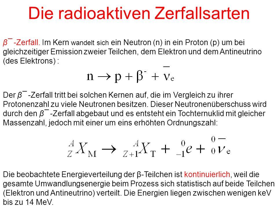 Die radioaktiven Zerfallsarten β¯ -Zerfall. Im Kern wandelt sich ein Neutron (n) in ein Proton (p) um bei gleichzeitiger Emission zweier Teilchen, dem