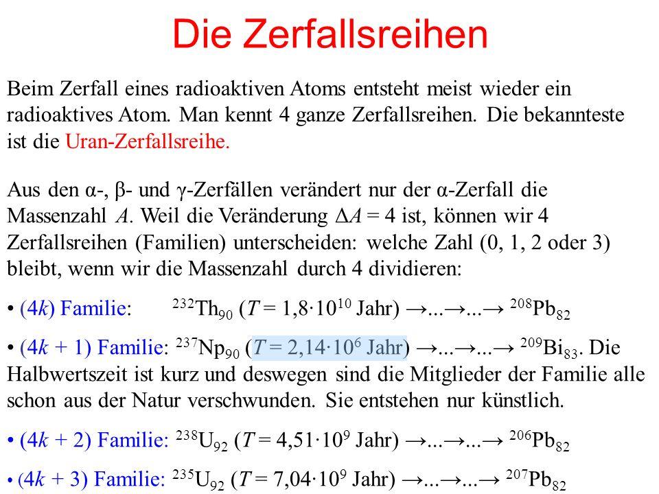 Die Zerfallsreihen Beim Zerfall eines radioaktiven Atoms entsteht meist wieder ein radioaktives Atom. Man kennt 4 ganze Zerfallsreihen. Die bekanntest