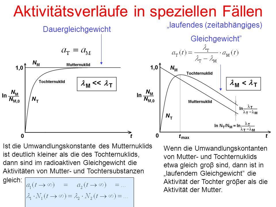 """Aktivitätsverläufe in speziellen Fällen Dauergleichgewicht """"laufendes (zeitabhängiges) Gleichgewicht"""" Ist die Umwandlungskonstante des Mutternuklids i"""