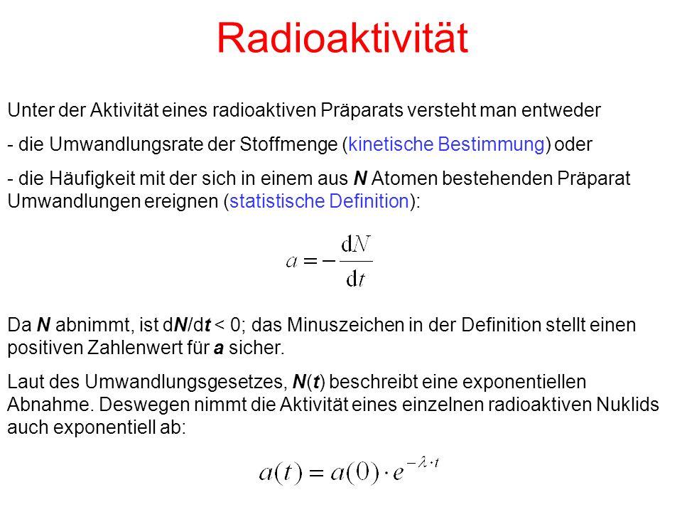 Radioaktivität Unter der Aktivität eines radioaktiven Präparats versteht man entweder - die Umwandlungsrate der Stoffmenge (kinetische Bestimmung) oder - die Häufigkeit mit der sich in einem aus N Atomen bestehenden Präparat Umwandlungen ereignen (statistische Definition): Da N abnimmt, ist dN/dt < 0; das Minuszeichen in der Definition stellt einen positiven Zahlenwert für a sicher.