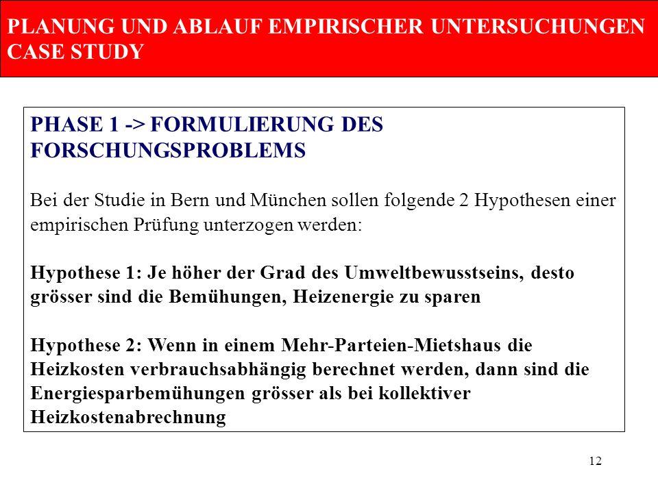 12 PLANUNG UND ABLAUF EMPIRISCHER UNTERSUCHUNGEN CASE STUDY PHASE 1 -> FORMULIERUNG DES FORSCHUNGSPROBLEMS Bei der Studie in Bern und München sollen f