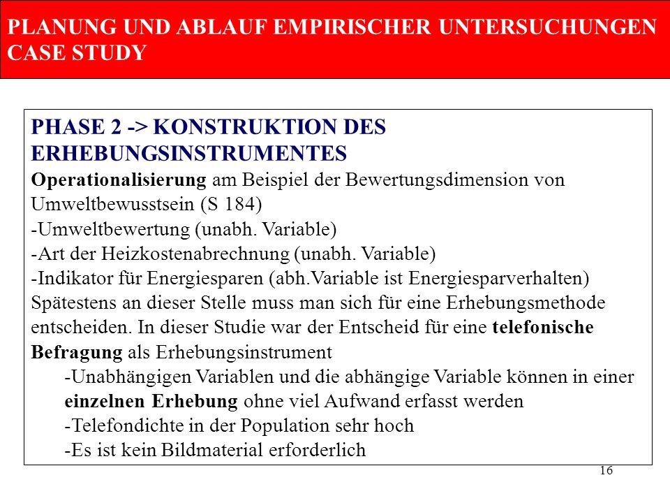 16 PLANUNG UND ABLAUF EMPIRISCHER UNTERSUCHUNGEN CASE STUDY PHASE 2 -> KONSTRUKTION DES ERHEBUNGSINSTRUMENTES Operationalisierung am Beispiel der Bewe