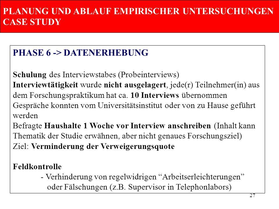 27 PLANUNG UND ABLAUF EMPIRISCHER UNTERSUCHUNGEN CASE STUDY PHASE 6 -> DATENERHEBUNG Schulung des Interviewstabes (Probeinterviews) Interviewtätigkeit