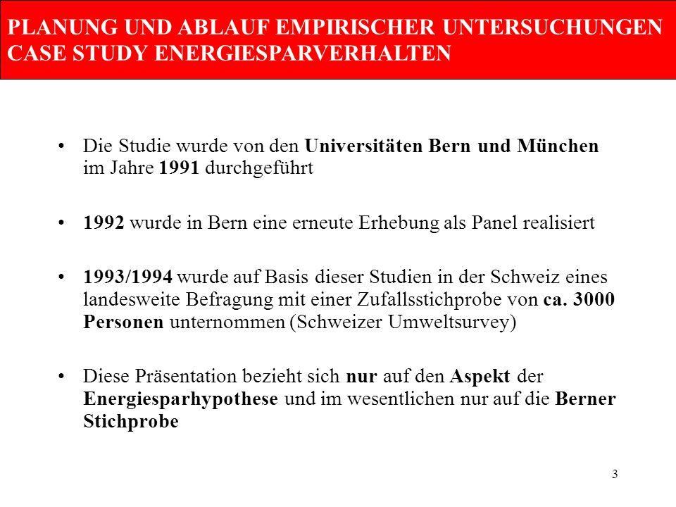 3 PLANUNG UND ABLAUF EMPIRISCHER UNTERSUCHUNGEN CASE STUDY ENERGIESPARVERHALTEN Die Studie wurde von den Universitäten Bern und München im Jahre 1991