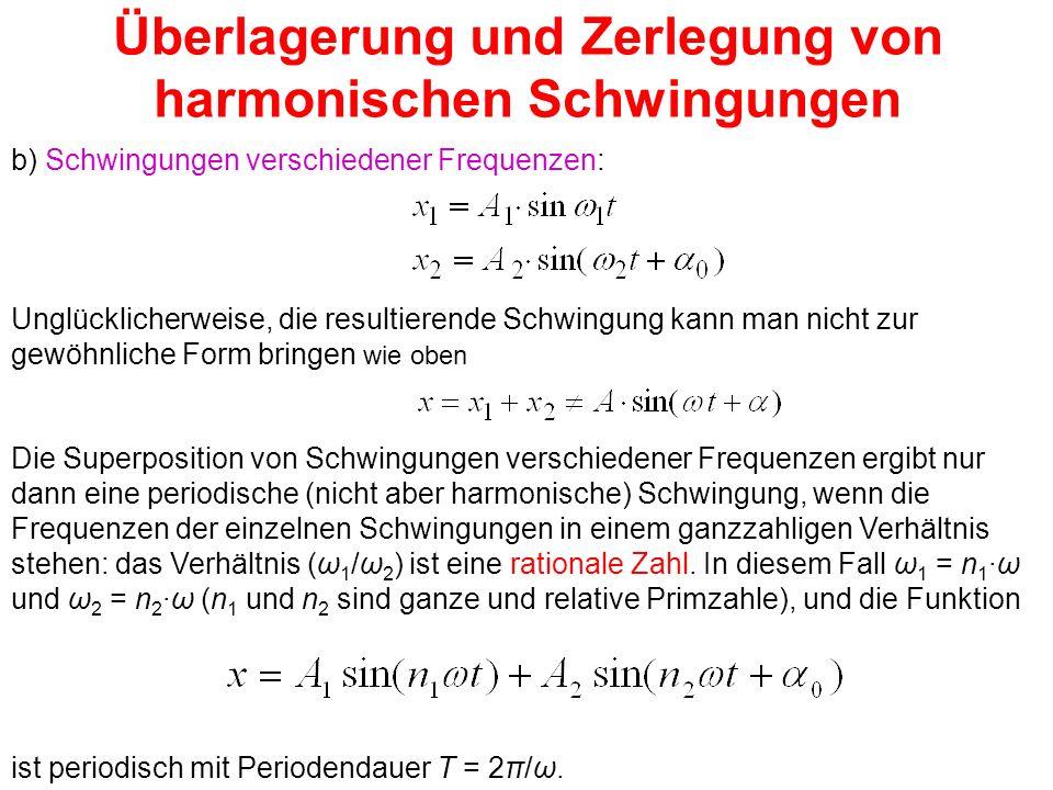 Überlagerung und Zerlegung von harmonischen Schwingungen b) Schwingungen verschiedener Frequenzen: Unglücklicherweise, die resultierende Schwingung ka