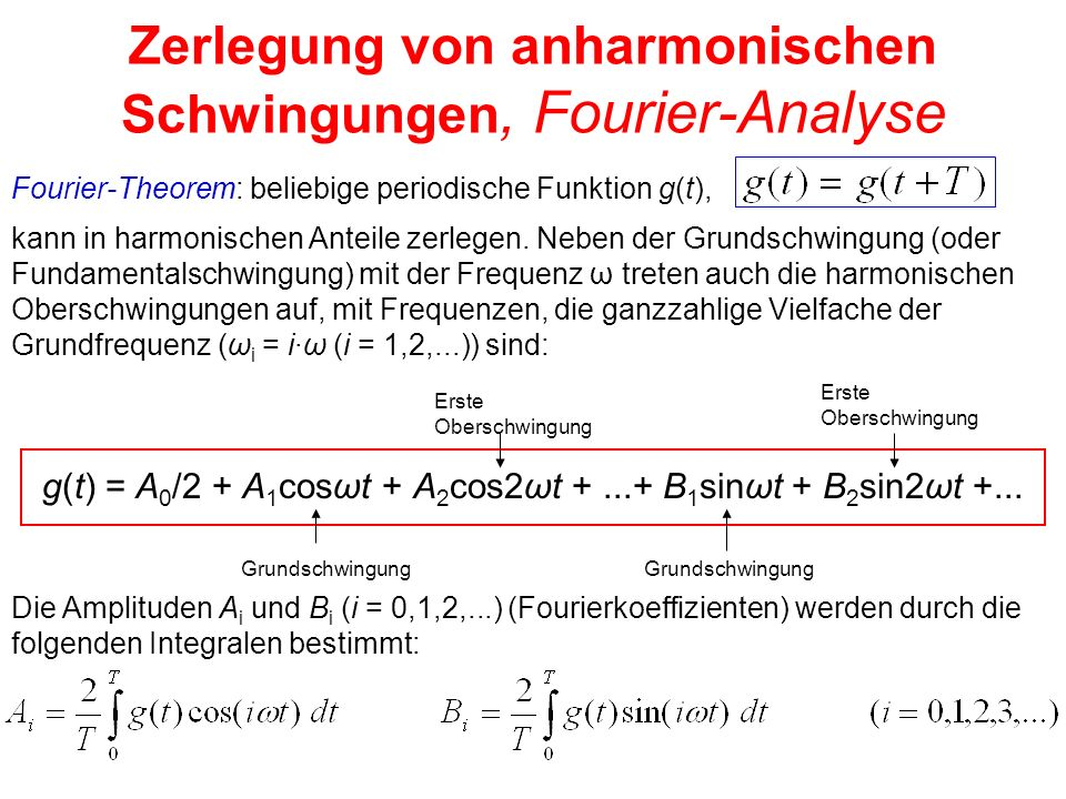 Zerlegung von anharmonischen Schwingungen, Fourier-Analyse Fourier-Theorem: beliebige periodische Funktion g(t), g(t) = A 0 /2 + A 1 cosωt + A 2 cos2ω