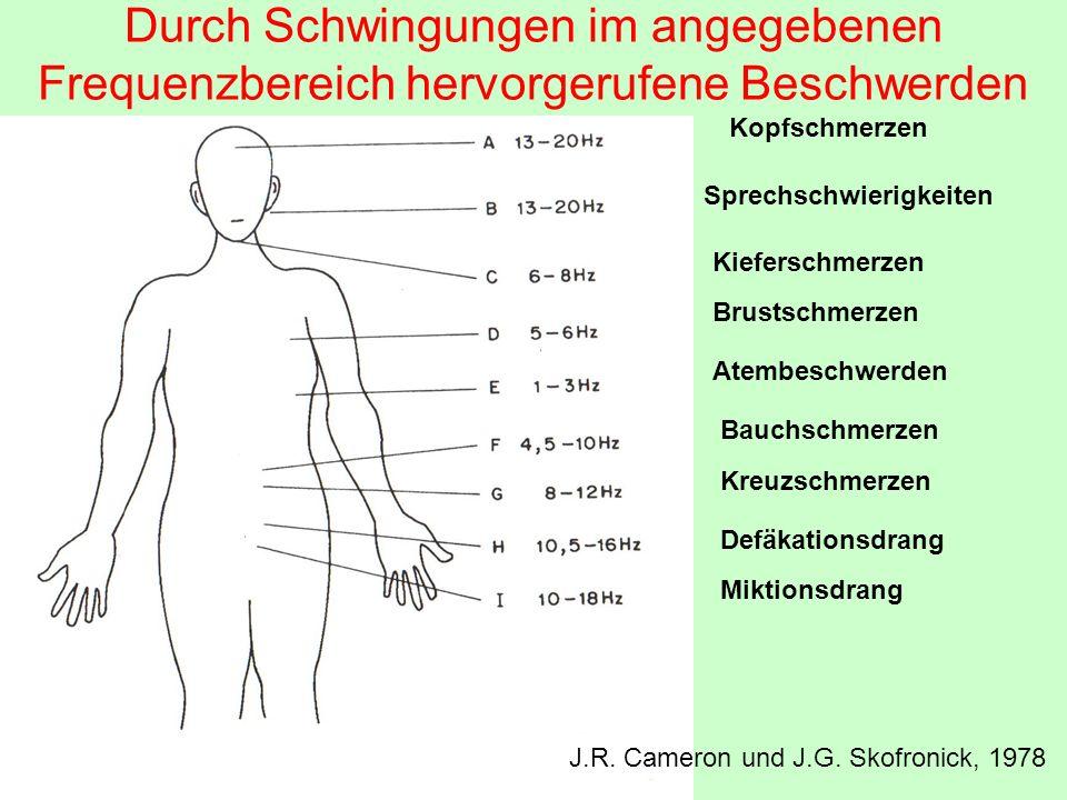 Durch Schwingungen im angegebenen Frequenzbereich hervorgerufene Beschwerden Kopfschmerzen Sprechschwierigkeiten Kieferschmerzen Brustschmerzen Atembe