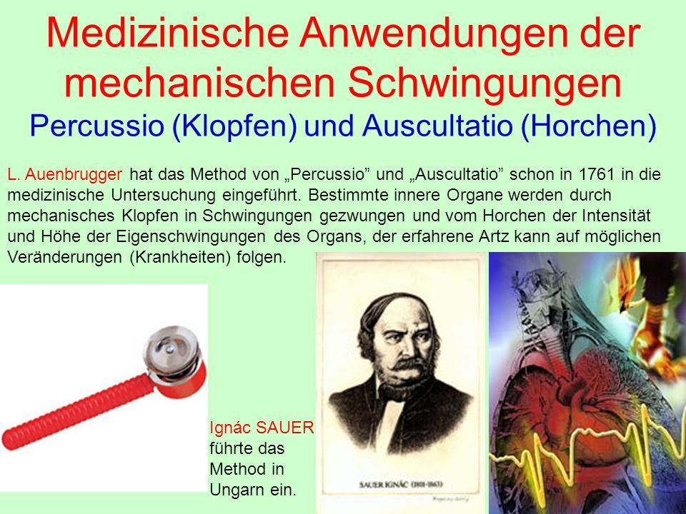 """Medizinische Anwendungen der mechanischen Schwingungen Percussio (Klopfen) und Auscultatio (Horchen) L. Auenbrugger hat das Method von """"Percussio"""" und"""