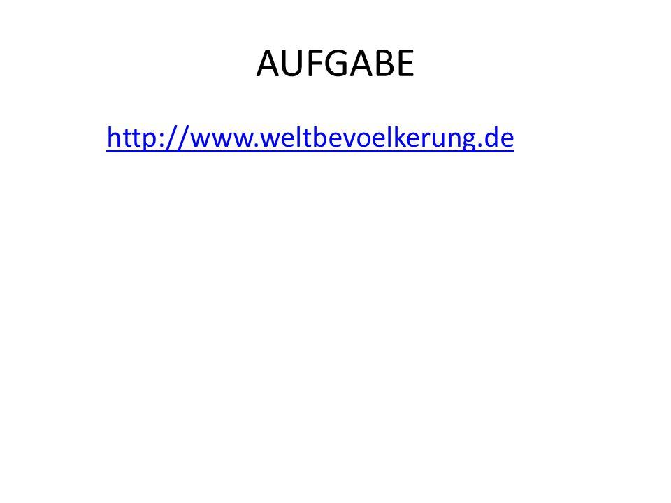 AUFGABE http://www.weltbevoelkerung.de