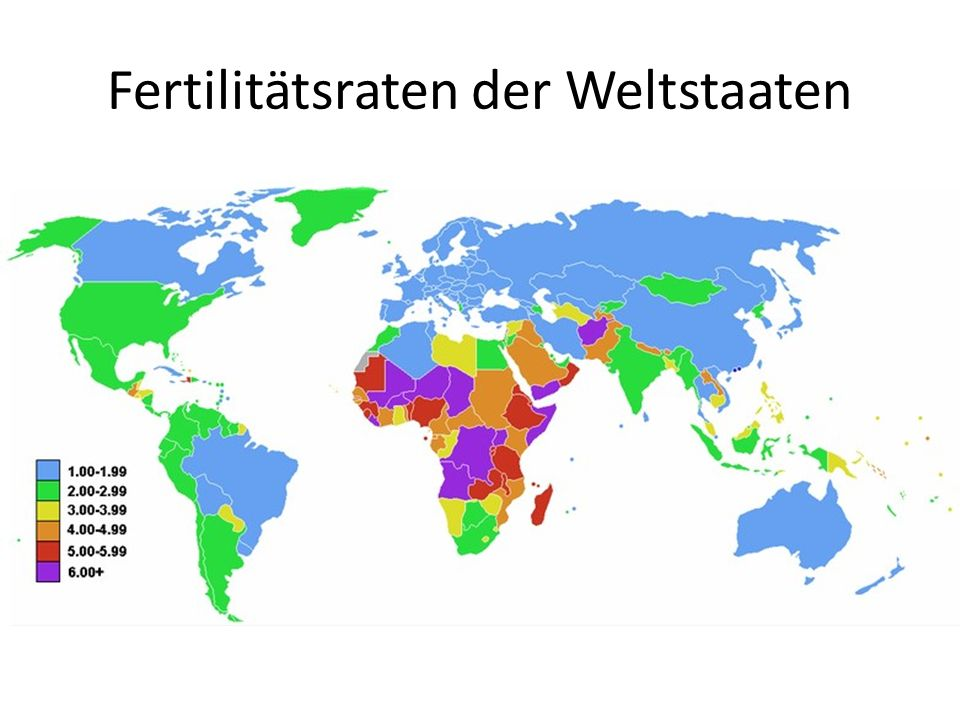 Fertilitätsraten der Weltstaaten