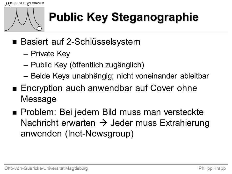 Otto-von-Guericke-Universität MagdeburgPhilipp Krapp Public Key Steganographie n Basiert auf 2-Schlüsselsystem –Private Key –Public Key (öffentlich zu