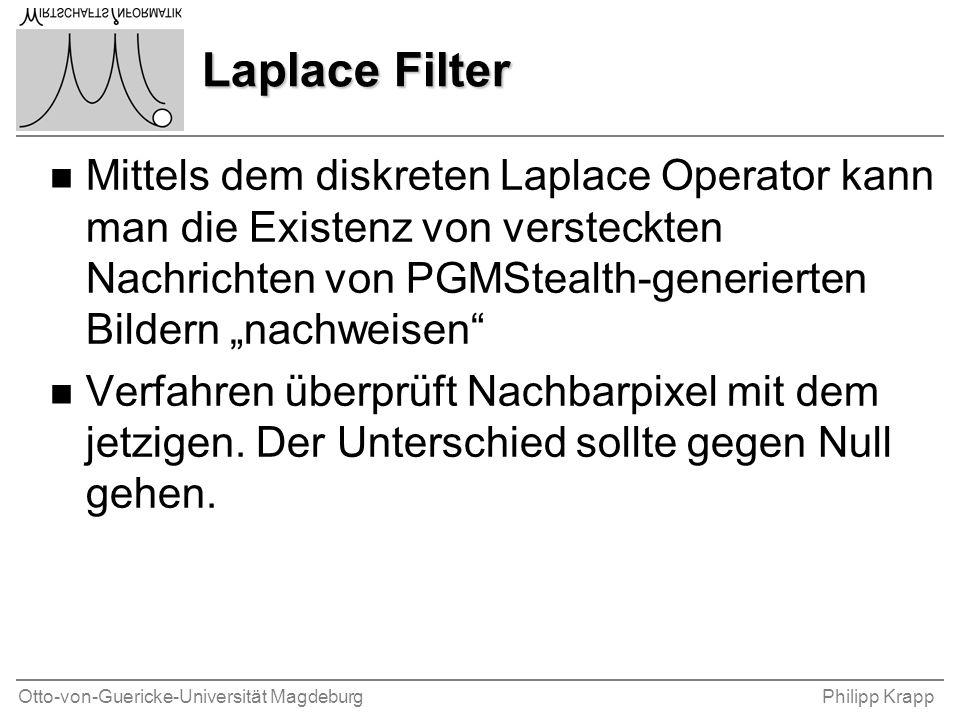 """Otto-von-Guericke-Universität MagdeburgPhilipp Krapp Laplace Filter n Mittels dem diskreten Laplace Operator kann man die Existenz von versteckten Nachrichten von PGMStealth-generierten Bildern """"nachweisen n Verfahren überprüft Nachbarpixel mit dem jetzigen."""