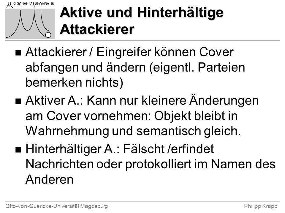 Otto-von-Guericke-Universität MagdeburgPhilipp Krapp Aktive und Hinterhältige Attackierer n Attackierer / Eingreifer können Cover abfangen und ändern (eigentl.