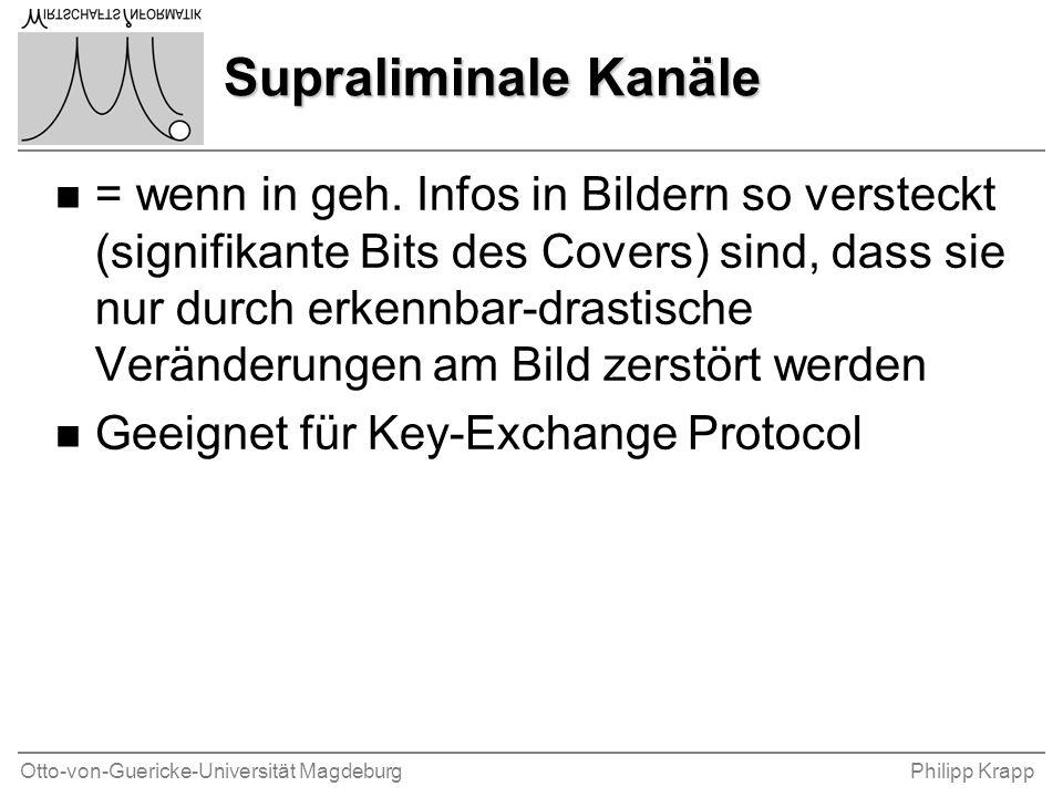 Otto-von-Guericke-Universität MagdeburgPhilipp Krapp Supraliminale Kanäle n = wenn in geh. Infos in Bildern so versteckt (signifikante Bits des Covers