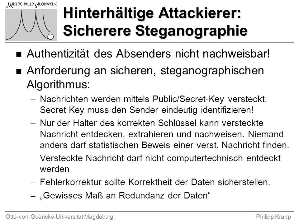 Otto-von-Guericke-Universität MagdeburgPhilipp Krapp Hinterhältige Attackierer: Sicherere Steganographie n Authentizität des Absenders nicht nachweisb