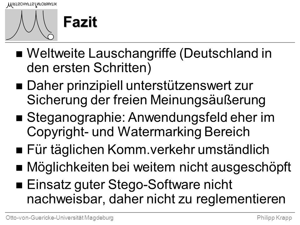 Otto-von-Guericke-Universität MagdeburgPhilipp Krapp Fazit n Weltweite Lauschangriffe (Deutschland in den ersten Schritten) n Daher prinzipiell unters