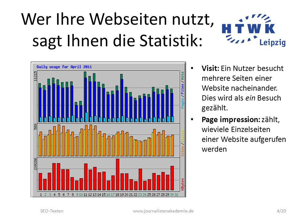 SEO-Textenwww.journalistenakademie.de4/20 Wer Ihre Webseiten nutzt, sagt Ihnen die Statistik: Visit: Ein Nutzer besucht mehrere Seiten einer Website nacheinander.
