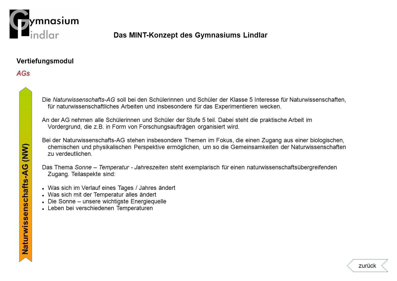 Vertiefungsmodul Naturwissenschafts-AG (NW) AGs zurück Die Naturwissenschafts-AG soll bei den Schülerinnen und Schüler der Klasse 5 Interesse für Natu