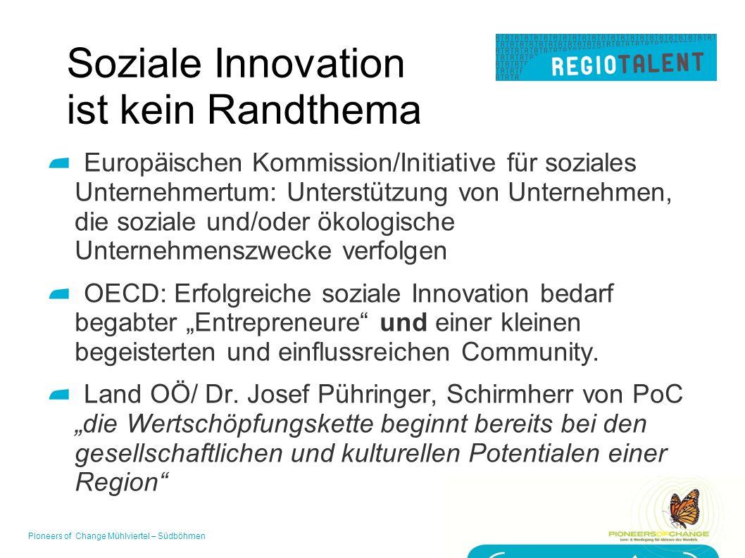 """Soziale Innovation ist kein Randthema Europäischen Kommission/Initiative für soziales Unternehmertum: Unterstützung von Unternehmen, die soziale und/oder ökologische Unternehmenszwecke verfolgen OECD: Erfolgreiche soziale Innovation bedarf begabter """"Entrepreneure und einer kleinen begeisterten und einflussreichen Community."""