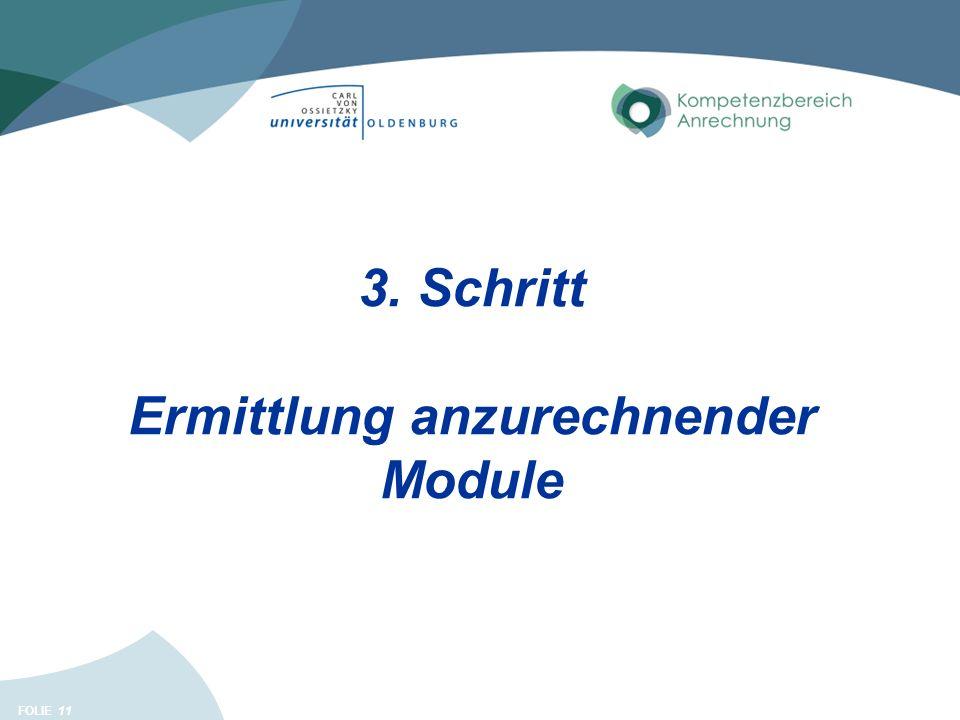FOLIE 11 3. Schritt Ermittlung anzurechnender Module