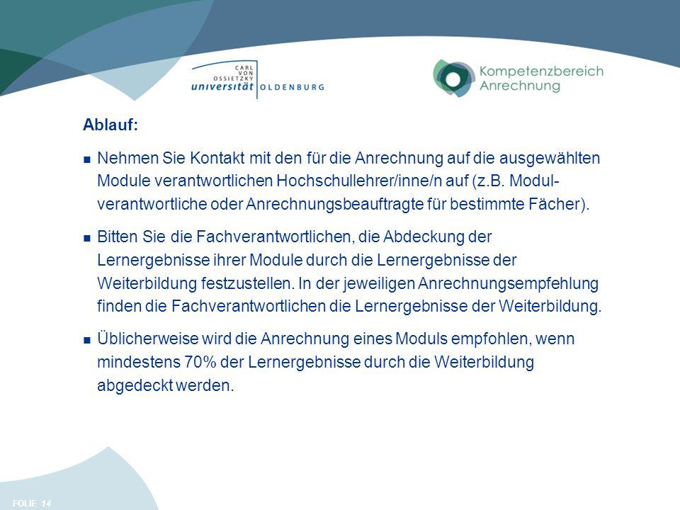 FOLIE 14 Ablauf: Nehmen Sie Kontakt mit den für die Anrechnung auf die ausgewählten Module verantwortlichen Hochschullehrer/inne/n auf (z.B. Modul- ve