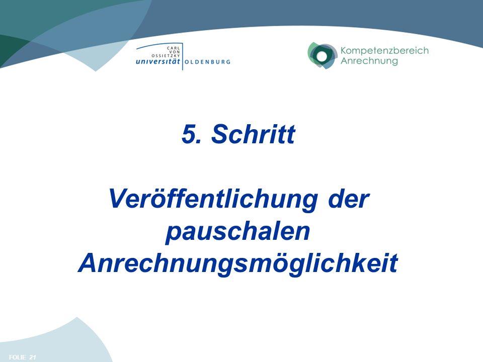 FOLIE 21 5. Schritt Veröffentlichung der pauschalen Anrechnungsmöglichkeit