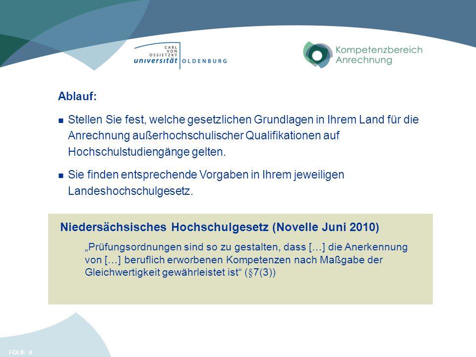 """FOLIE 6 Niedersächsisches Hochschulgesetz (Novelle Juni 2010) """"Prüfungsordnungen sind so zu gestalten, dass […] die Anerkennung von […] beruflich erworbenen Kompetenzen nach Maßgabe der Gleichwertigkeit gewährleistet ist (§7(3)) Ablauf: Stellen Sie fest, welche gesetzlichen Grundlagen in Ihrem Land für die Anrechnung außerhochschulischer Qualifikationen auf Hochschulstudiengänge gelten."""