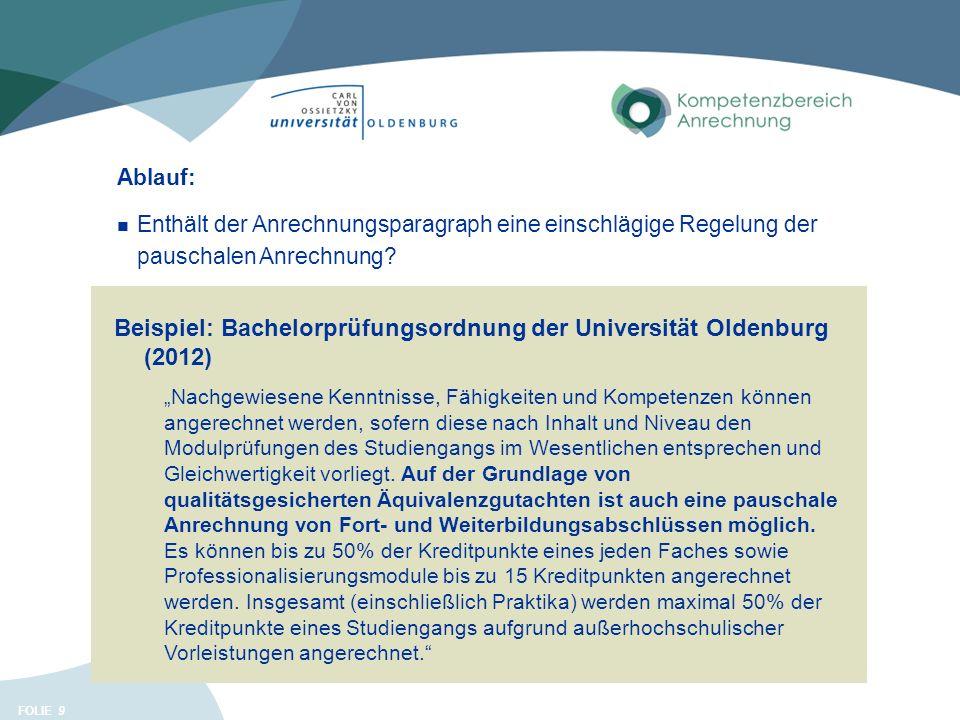 """FOLIE 9 Beispiel: Bachelorprüfungsordnung der Universität Oldenburg (2012) """"Nachgewiesene Kenntnisse, Fähigkeiten und Kompetenzen können angerechnet werden, sofern diese nach Inhalt und Niveau den Modulprüfungen des Studiengangs im Wesentlichen entsprechen und Gleichwertigkeit vorliegt."""