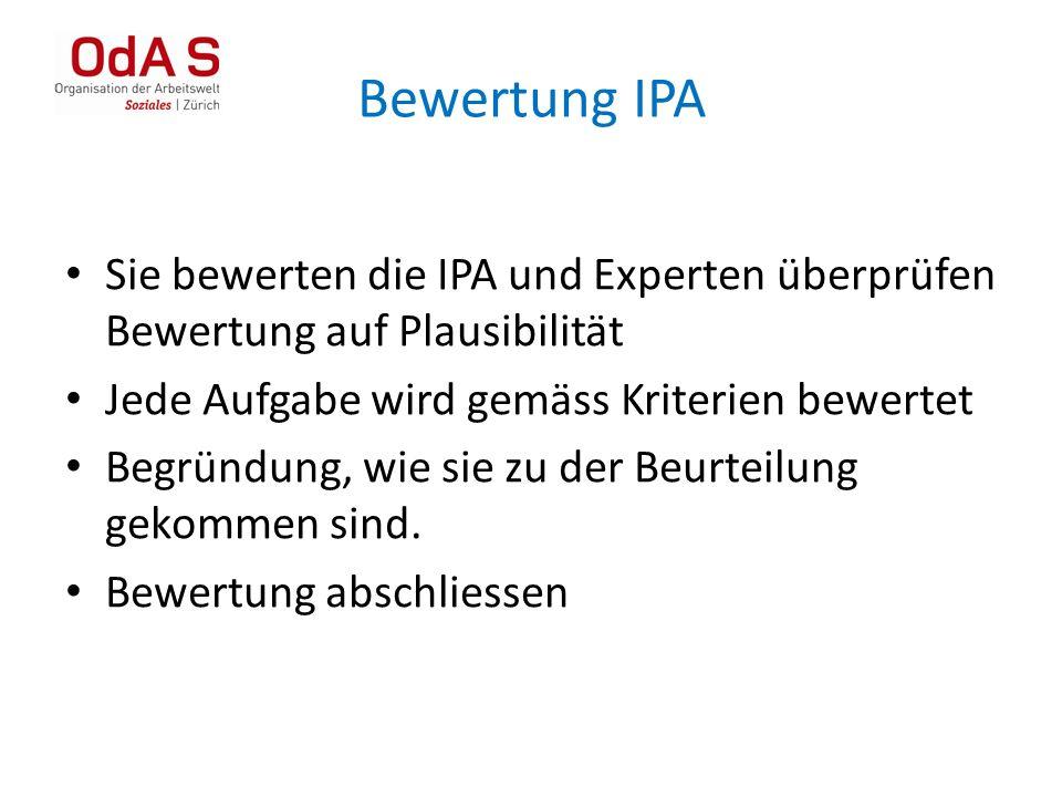Bewertung IPA Sie bewerten die IPA und Experten überprüfen Bewertung auf Plausibilität Jede Aufgabe wird gemäss Kriterien bewertet Begründung, wie sie