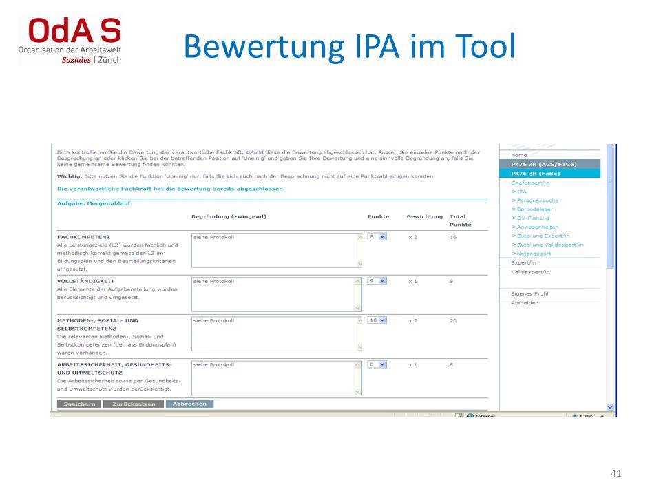Bewertung IPA im Tool 41