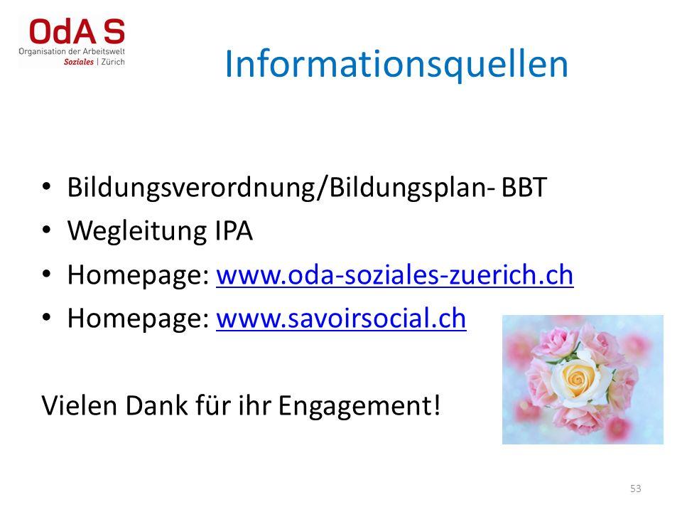 53 Bildungsverordnung/Bildungsplan- BBT Wegleitung IPA Homepage: www.oda-soziales-zuerich.chwww.oda-soziales-zuerich.ch Homepage: www.savoirsocial.chw