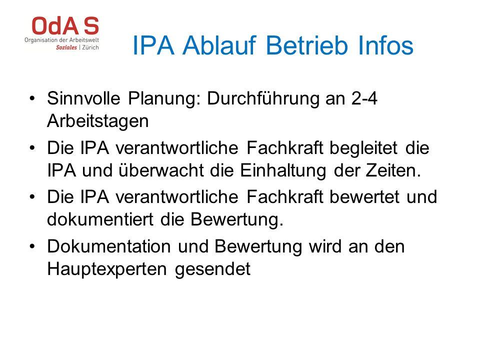 IPA Ablauf Betrieb Infos Sinnvolle Planung: Durchführung an 2-4 Arbeitstagen Die IPA verantwortliche Fachkraft begleitet die IPA und überwacht die Ein