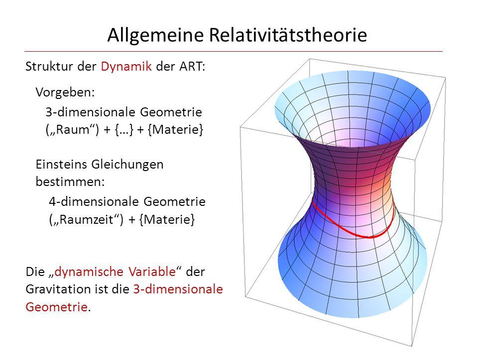 """Allgemeine Relativitätstheorie Struktur der Dynamik der ART: Vorgeben: 3-dimensionale Geometrie (""""Raum"""") + {…} + {Materie} Einsteins Gleichungen besti"""