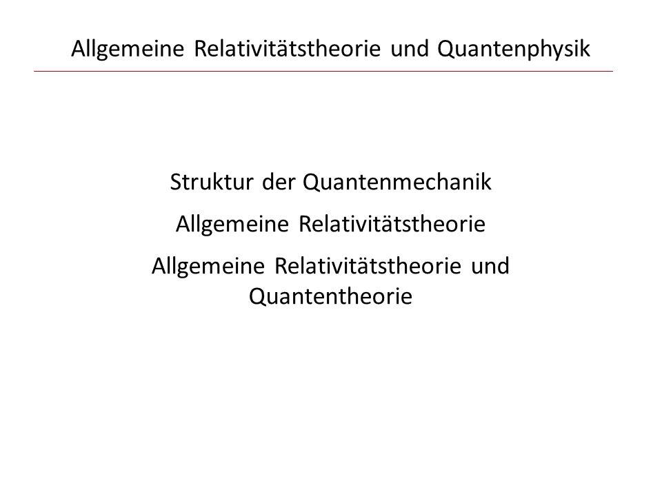 """Allgemeine Relativitätstheorie Struktur der Dynamik der ART: Vorgeben: 3-dimensionale Geometrie (""""Raum ) + {…} + {Materie} Einsteins Gleichungen bestimmen: 4-dimensionale Geometrie (""""Raumzeit ) + {Materie} Die """"dynamische Variable der Gravitation ist die 3-dimensionale Geometrie."""