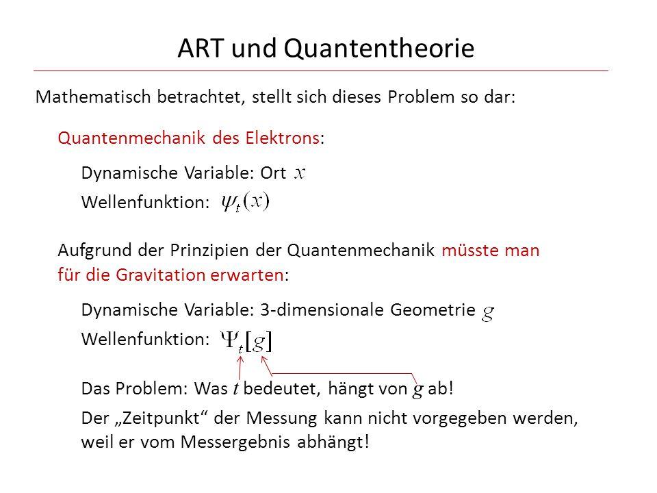 ART und Quantentheorie Mathematisch betrachtet, stellt sich dieses Problem so dar: Quantenmechanik des Elektrons: Dynamische Variable: Ort Wellenfunkt