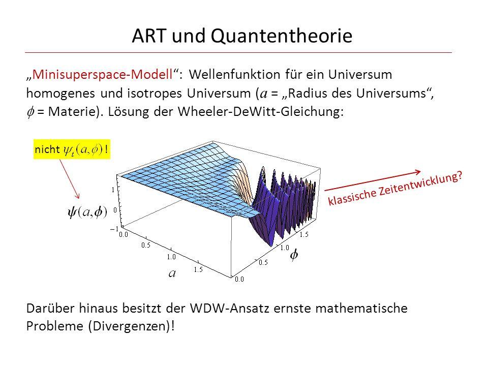 """ART und Quantentheorie """"Minisuperspace-Modell"""": Wellenfunktion für ein Universum homogenes und isotropes Universum ( a = """"Radius des Universums"""",  ="""
