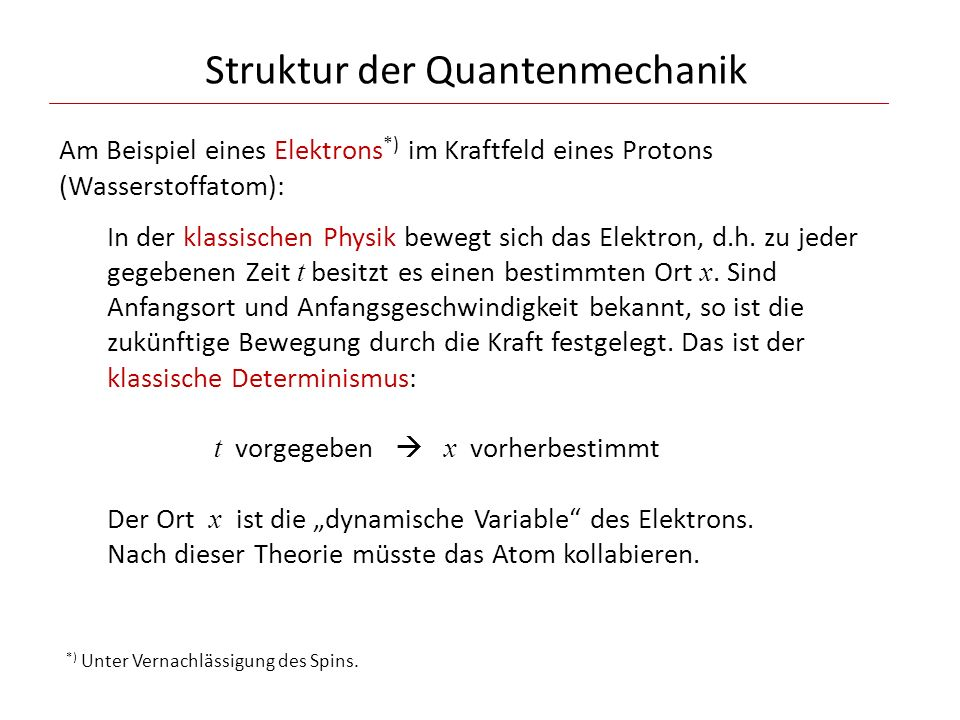 """Struktur der Quantenmechanik Die Quantenmechanik hingegen macht nur Wahrscheinlichkeits- aussagen: Zu jeder gegebenen Zeit t wird der Zustand des Elektrons durch eine """"Wellenfunktion beschrieben."""