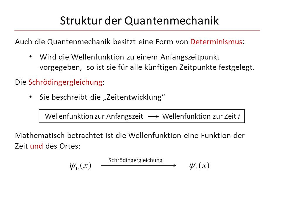 Struktur der Quantenmechanik Auch die Quantenmechanik besitzt eine Form von Determinismus: Wird die Wellenfunktion zu einem Anfangszeitpunkt vorgegebe